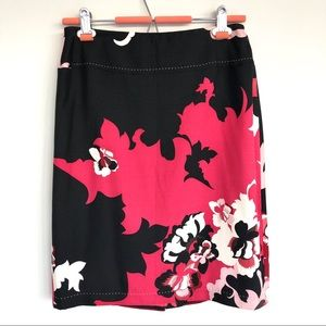 Elie Tahari Silk Wool Blend Floral Skirt